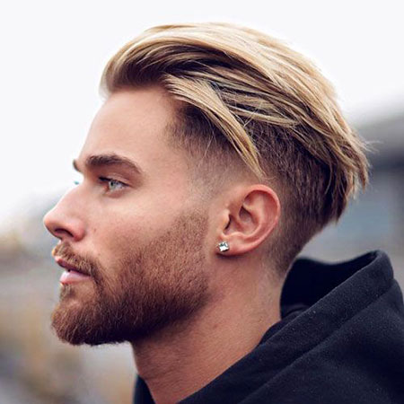 Slicked Back Hairtyle for Men, Fade Taper Low Back