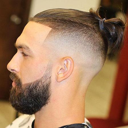 Hair Fade Bun Beard