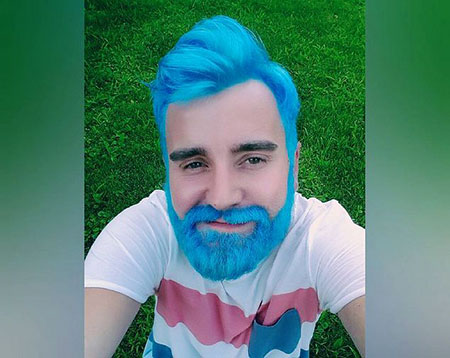 Creative Hair Color for Men, Guys Blue Some Colors